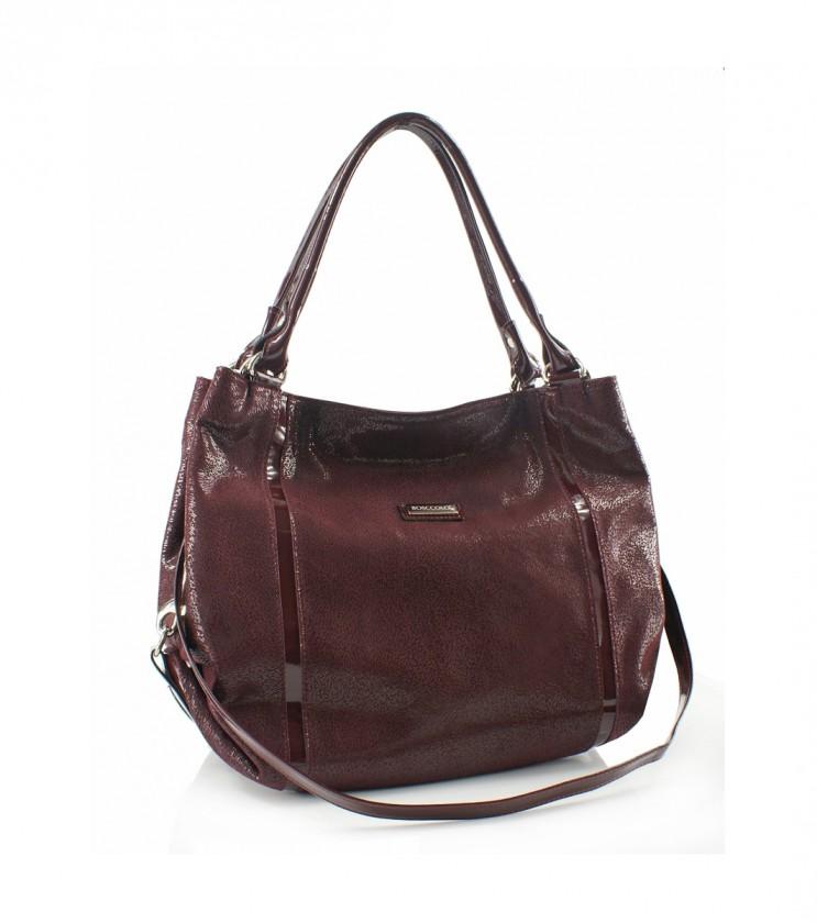 Кожена дамска чанта в цвят марсала Whitney
