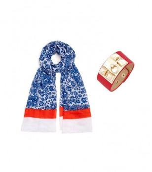 Комплект от бял шал със син принт и червена гривна Timea