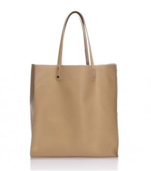 Дамска кожена чанта с две лица в цвят таупе Trixie