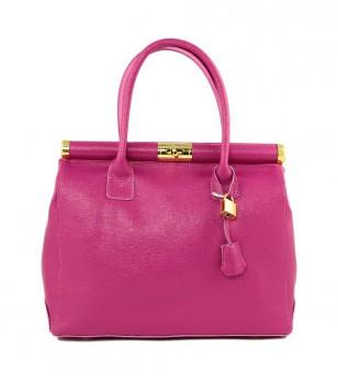 Кожена дамска чанта в цвят циклама Demi