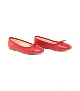 Кожени червени балеринки