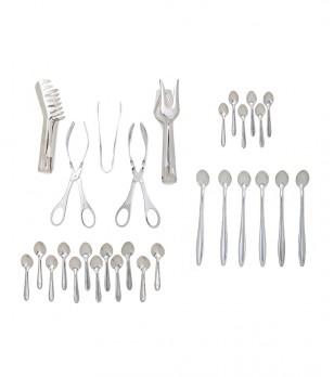 Комплект от 29 кухненски прибори в сребристо