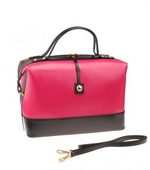 Дамска кожена чанта в цвят циклама и черно Nestito