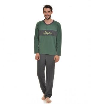 Мъжка памучна пижама в зелено и сиво Can