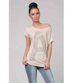 Дамска бежова памучна блуза с декорация