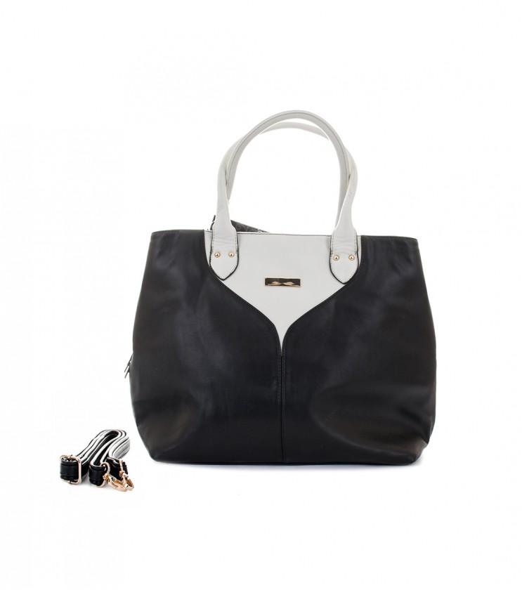Дамска чанта в черно и цвят крем