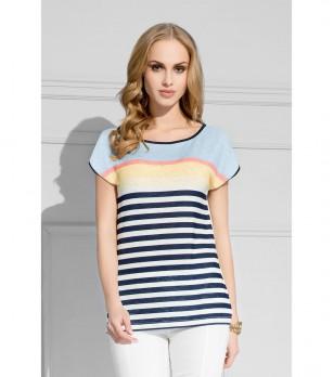 Дамска блуза в цвят екрю и тъмносиньо
