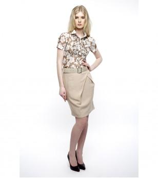 Кафява памучна дамска риза с принт Bonapure