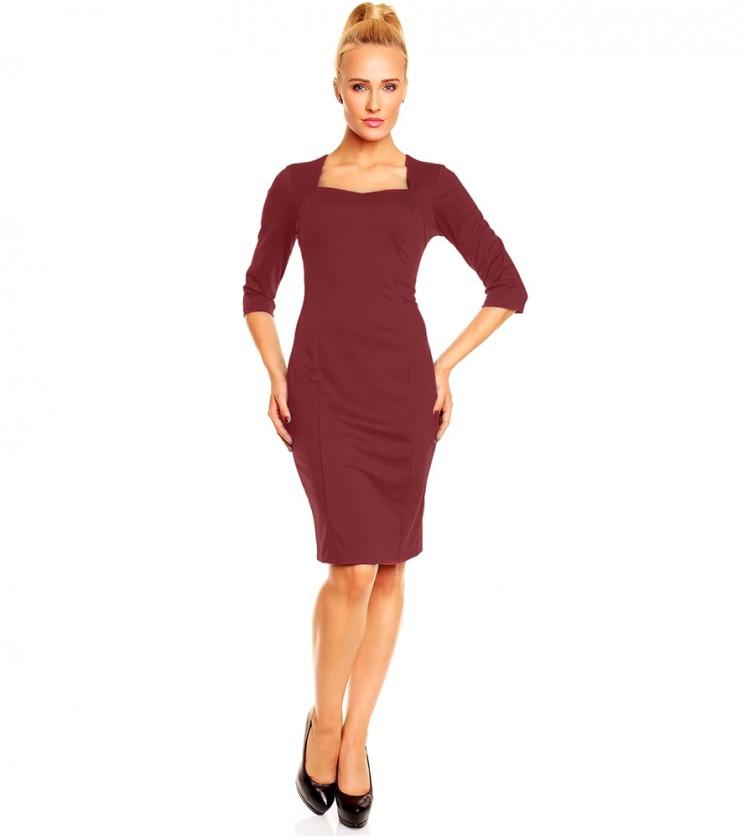 Рокля Diana в цвят бордо