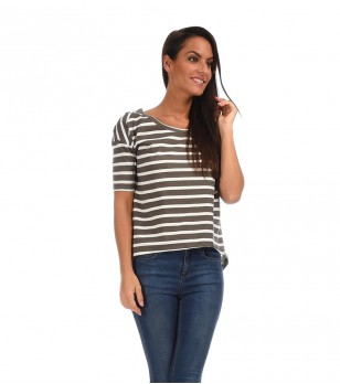 Тениска на райе в сиво и бяло Vicky