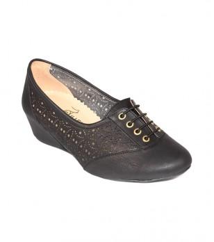 Черни кожени обувки на платформа с връзки