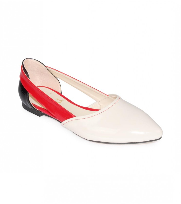 Дамски кожени обувки с бяло, червено и черно