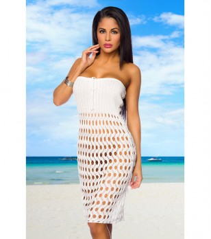 Бяла плажна рокля