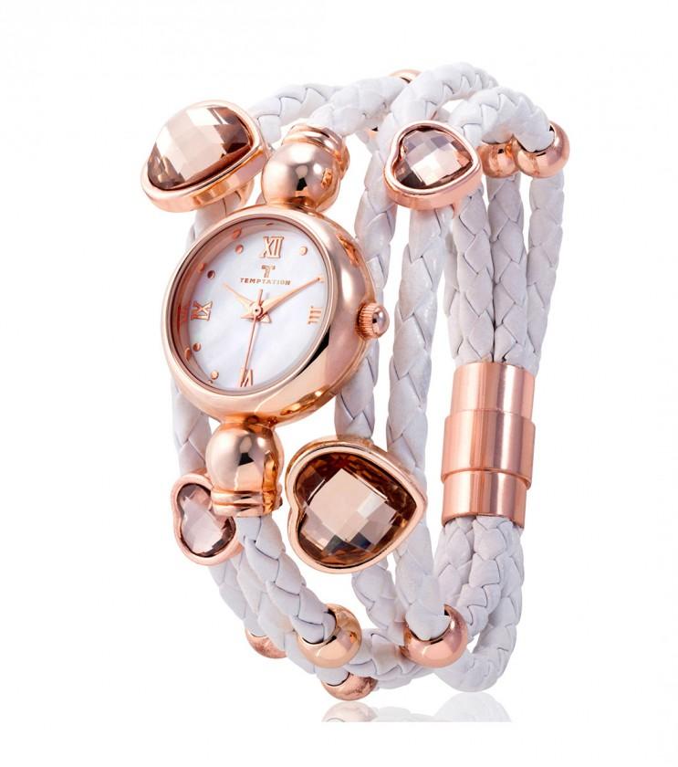 Нестандартен дамски часовник в розовозлатисто и бяло