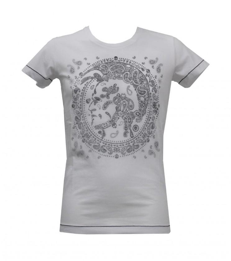 Бяла мъжка тениска с леко вталена линия