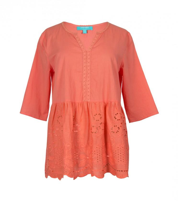 Дамска памучна блуза в оранжево Rosanne