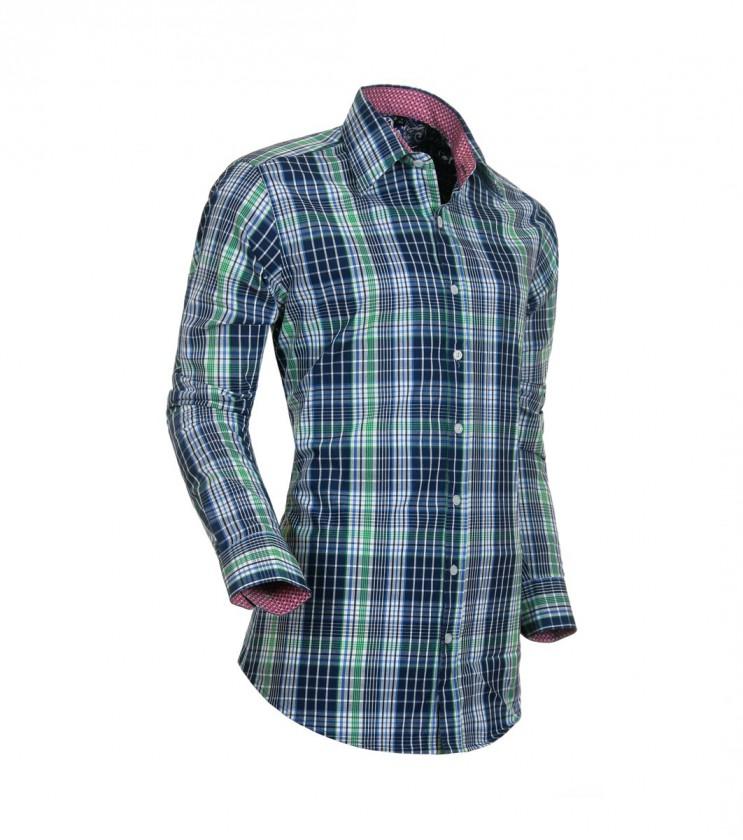 Зелена риза на тъмносиньо каре Goran