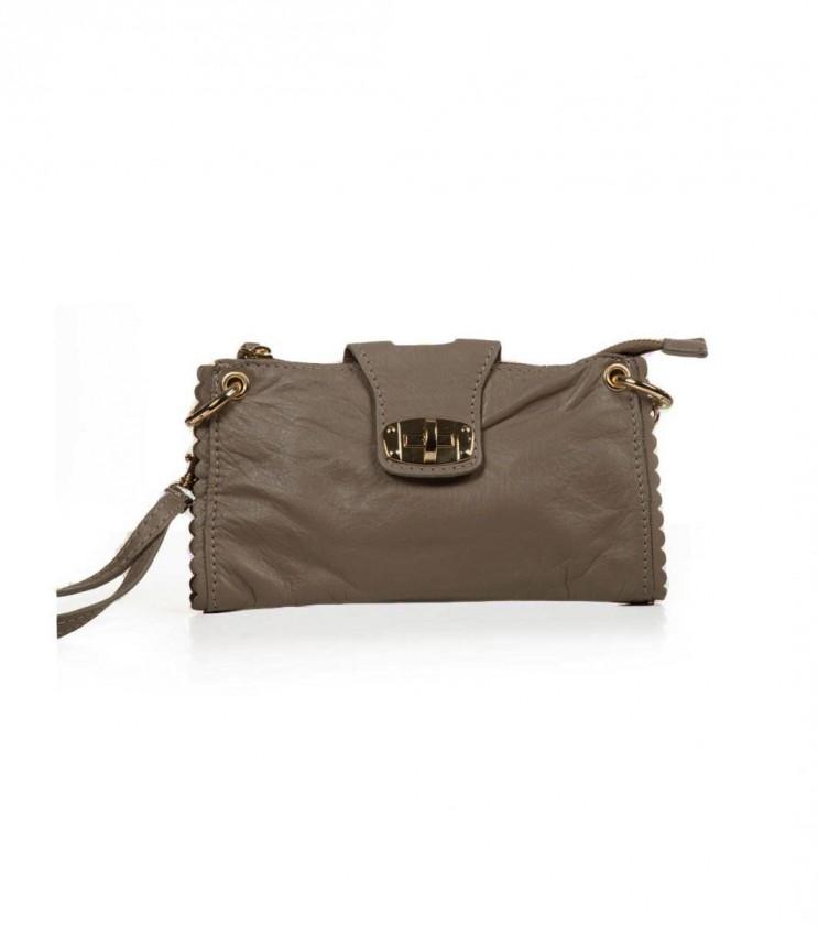 Дамска кожена чанта в бежов нюанс Emilia